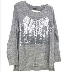 Grey Fine Knit Sequin Front